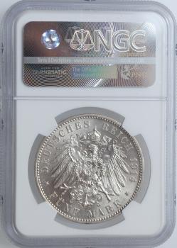 "Саксония 5 марок 1914 г., NGC MS62, ""Король Фридрих Август III (1904 - 1918)"""