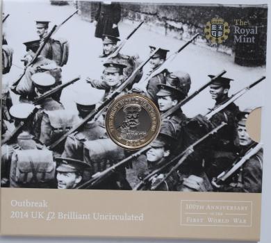 """Великобритания 2 фунта 2014 г., BU, """"100 лет Первой Мировой войне"""""""