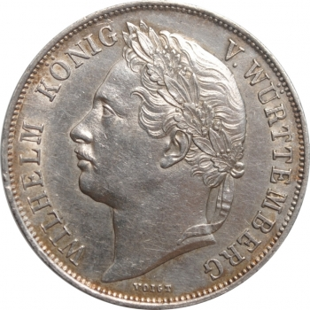 """Вюртемберг 1 гульден 1841 г., XF, """"25 лет правлению Короля Вильгельма I"""""""
