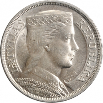 """Латвия 5 латов 1932 г., UNC, """"Первая Республика (1922 - 1940)"""""""