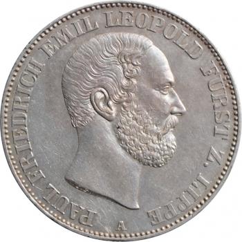 """Липпе 1 союзный талер 1860 г., UNC, """"Князь Леопольд III (1851 - 1875)"""""""