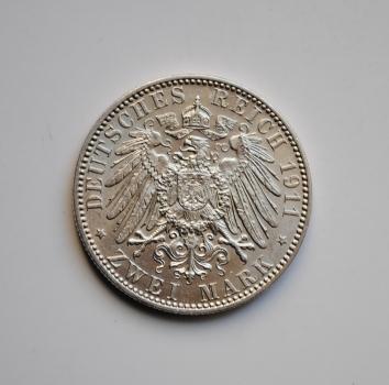 Гамбург 2 марки 1911 г., XF-UNC, РЕДКАЯ + СОСТОЯНИЕ