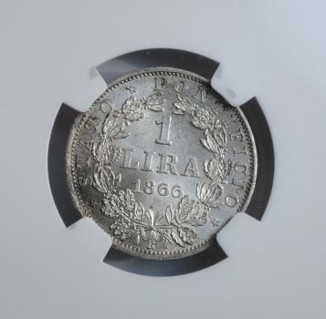 Ватикан 1 лира 1866 г., NGC MS63, 'Папа Пий IX (1846 - 1878)'