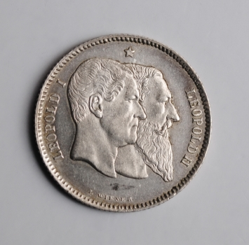 Бельгия 1 франк 1880 г., UNC, '50 лет Независимости'