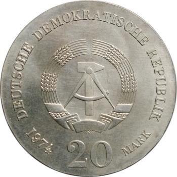 """ГДР 20 марок 1974 г., UNC, """"250 лет со дня рождения Иммануила Канта"""""""