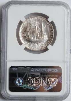 """США 50 центов 1921 г., NGC MS65, """"300 лет прибытию Отцов-пилигримов"""""""