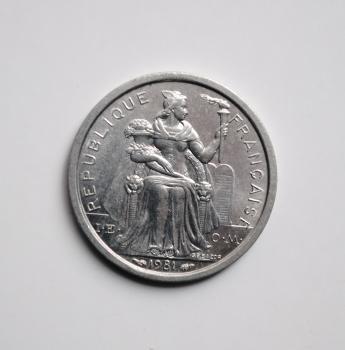 Французская Полинезия 1 франк 1981 г., BU, 'Заморское сообщество Франции (1965-2015)'