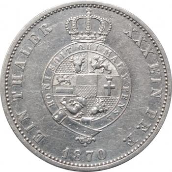 "Мекленбург-Стрелиц 1 талер 1870 г., XF, ""Герцог Фридрих Вильгельм II (1860 - 1904)"""