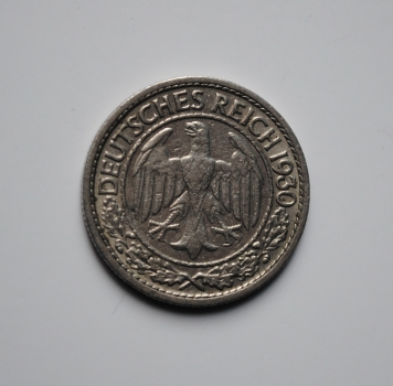 Германия 50 пфеннигов 1930 г. J, VF-XF, ОЧЕНЬ РЕДКАЯ