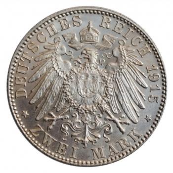 "Саксен-Мейнинген 2 марки 1915, UNC, ""Смерть Георга II Саксен-Мейнингенского"""