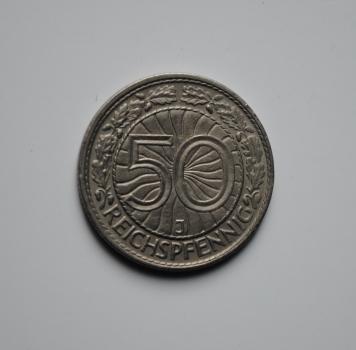 Германия 50 пфеннигов 1935 г. J, XF, РЕДКАЯ