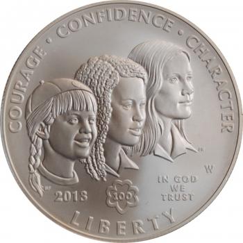 """США 1 доллар 2013 г., BU, """"100 лет движению девочек-скаутов в США"""""""