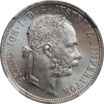 """Австрия 1 флорин 1878 г., NGC MS65, """"Император Франц Иосиф I (1848 - 1916)"""""""
