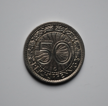 Германия 50 пфеннигов 1936 г. G, UNC, ОЧЕНЬ РЕДКАЯ