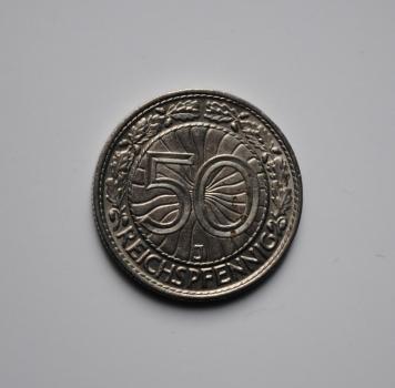 Германия 50 пфеннигов 1938 г. J, UNC, ОЧЕНЬ РЕДКАЯ