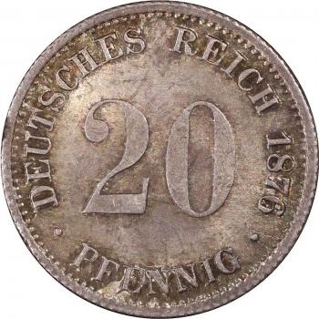 """Германия 20 пфеннигов 1876 г. G, PCGS MS65, """"Германская Империя (1871 - 1922)"""""""
