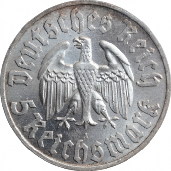 """Германия - Третий рейх 5 рейхсмарок 1933 г. A, PCGS MS64, """"450 лет со дня рождения Мартина Лютера"""""""