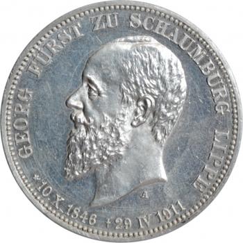 "Шаумбург-Липпе 3 марки 1911 г., UNC, ""Князь Альбрехт Георг (1893 - 1911)"""