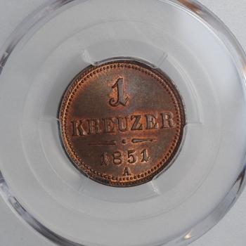 """Австрия 1 крейцер 1851 г. A, PCGS MS65 RB, """"Австрийская Империя (1806 - 1857)"""""""