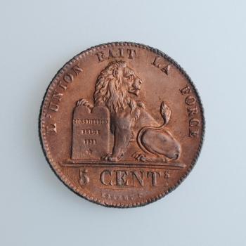 """Бельгия 5 сантимов 1842 г., UNC, """"Король Леопольд I (1832 - 1865)"""""""