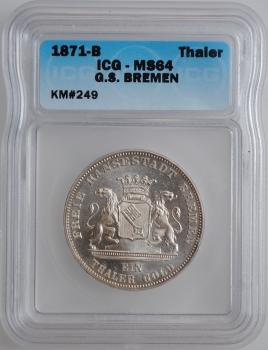 """Бремен 1 талер 1871 г., ICG MS64, """"Победа над Францией"""""""