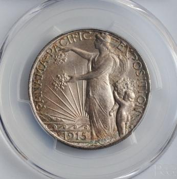 "США 50 центов 1915 г., PCGS MS65, ""Панамо-Тихоокеанская международная выставка"""