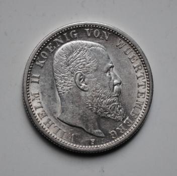 Вюртемберг 2 марки 1912 г., UNC, 'Король Вильгельм ІІ (1891-1918)'