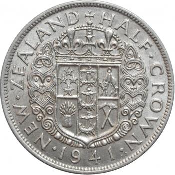 "Новая Зеландия 1/2 кроны 1941 г., AU, ""Король Георг VI (1937 - 1952)"""