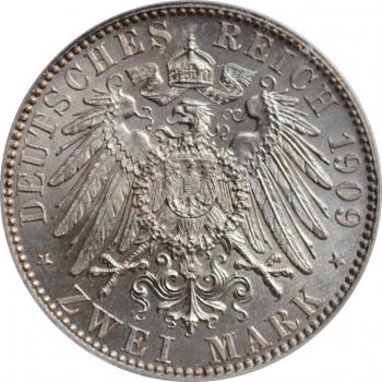 """Саксония 2 марки 1909 г., ICG MS65, """"500 лет Лейпцигскому университету"""""""