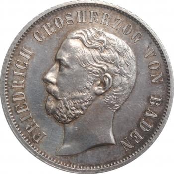 """Баден 1 гульден 1867 г., AU, """"Второй стрелковый фестиваль в Карлсруэ"""""""