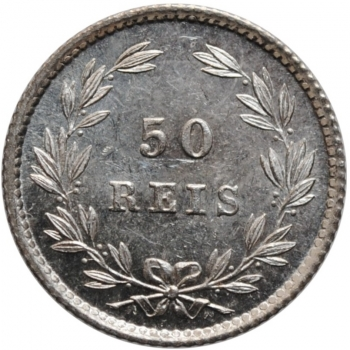 """Португалия 50 рейсов 1886 г., BU, """" Король Луиш I (1861 - 1889)"""""""