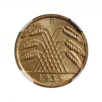 """Германия 10 рейхспфеннигов 1935 G, NGC UNC Details, """"Веймарская Республика (1923 - 1938)"""""""