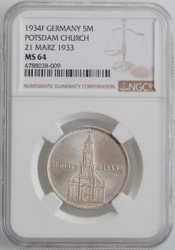 """Германия (Третий рейх) 5 рейхсмарок 1934 г. F, NGC MS64, """"Гарнизонная церковь в Потсдаме (21 März 1933)"""""""
