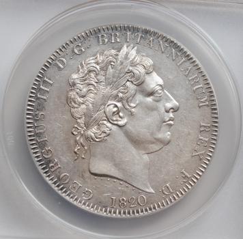 "Великобритания 1 крона 1820 г., ANACS AU58, ""Король Георг III (1760 - 1820)"""