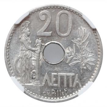 "Греция 20 лепт 1912 г., NGC MS62, ""Король Георг I (1863 - 1922)"""