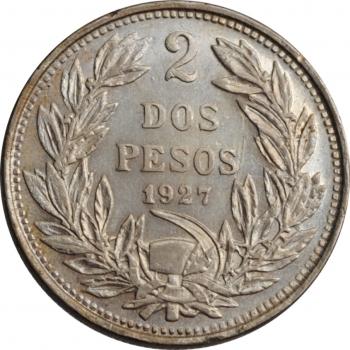 """Чили 2 песо 1927 г., AU, """"Республика Чили (1899 - 1959)"""""""