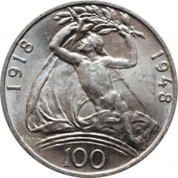 """Чехословакия 100 крон 1948 г., BU, """"30 лет Независимости"""""""
