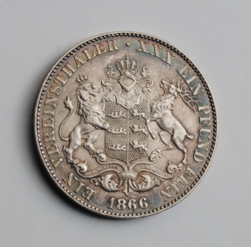 Вюртемберг 1 талер 1866 г., XF, 'Король Карл I (1864 - 1891)'