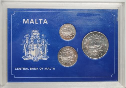 Мальта 1, 2, 5 фунтов 1977 г., PROOF, 'Собака; Луиджи Прециози; Ветряная мельница)'
