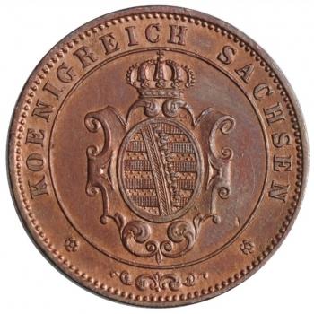 """Саксония 5 пфеннигов 1863 г., UNC, """"Король Иоганн (1854 - 1873)"""""""