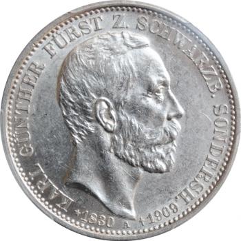 """Шварцбург-Зондерсгаузен 3 марки 1909 г., PCGS AU58, """"Смерть Карла Гюнтера"""""""