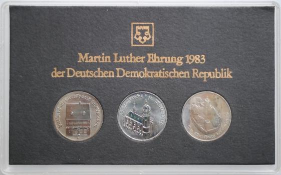 """ГДР набор 5 марок 1983 г., UNC, """"ГДР 1983 года чествует Мартина Лютера"""""""