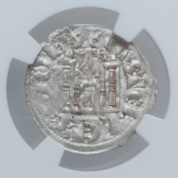 """Испания, Кастилия и Леон 1 Динеро 1286-1288 г., NGC MS62, """"Король Санчо IV (1284 - 1295)"""""""