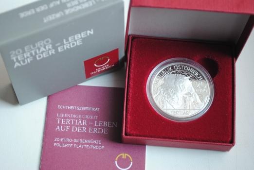 Австрия 20 евро 2014 г., PROOF, 'Доисторическая жизнь - Третичный период'