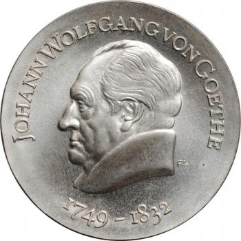 """ГДР 20 марок 1969 г., BU, """"220 лет со дня рождения Иоганна Вольфганга фон Гёте"""""""