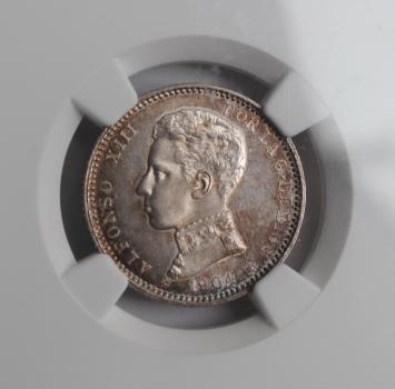 Испания 1 песета 1904 (4) г., NGC MS63, 'Король Альфонсо XIII (1886 - 1931)'