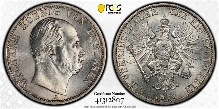 """Пруссия 1 союзный талер 1871 г., PCGS MS65, """"Император Вильгельм I (1861 - 1888)"""""""