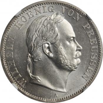"""Пруссия 1 союзный талер 1866 г., NGC UNC Details, """"Победа в Австро-прусско-итальянской войне"""""""