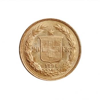 "Швейцария 20 франков 1896 г. B, UNC, ""Швейцарская Конфедерация (1850 - 1916)"""