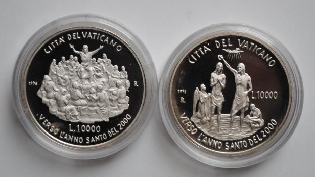 Ватикан 10000 лир 1996 г., PROOF, 'Святой Год 2000 - Учение и Крещение'